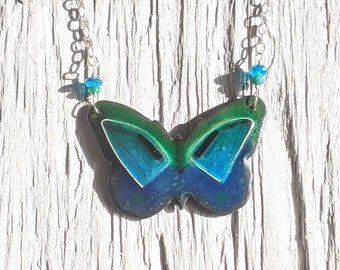 Blue and Green Butterfly Cloisonné Necklace, Butterfly on Chunky Silver Chain