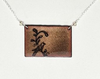 Transparent Beige Enamel Bird Necklace,  Sterling Silver and Labradorite Bird Lover's Necklace