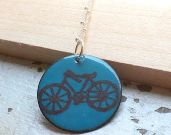 """Turquoise Blue and Red Enamel Necklace  """"I Heart My Bike"""""""