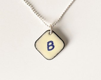 Ivory & Indigo Initial Pendant, Personalized Jewelry, Off White Initial Necklace
