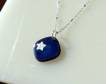 Indigo Blue Star Necklace, Silver Star & Midnight Blue Enamel Pendant, Starry Night Necklace