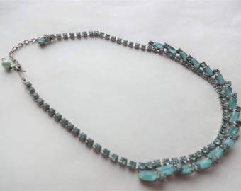 1950s Blue Rhinestone Chicklet Necklace