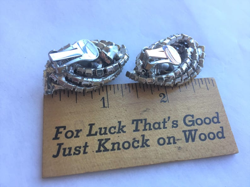 Large Vintage Clip Earrings with Rhinestones and Cat/'s Eyes