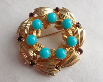 Faux Turquoise and Amethyst Circle Pin by Warner