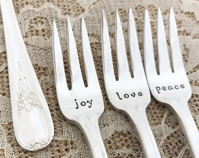 Love, Joy, Peace - mini forks set of 3, vintage appetizer forks