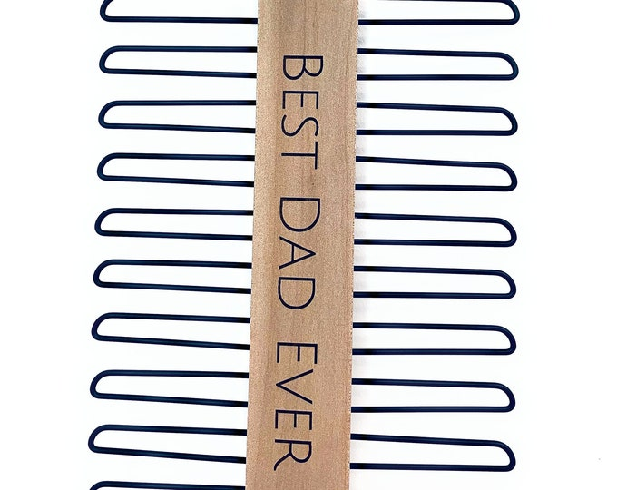 Personalized Tie Hanger, Engraved Wood and Black Gift For Dad, Men, Husband, Ties