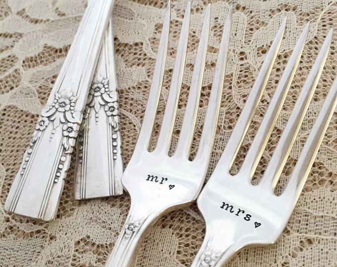 """Mr. & Mrs. vintage wedding forks """"artistic"""" hand stamped"""