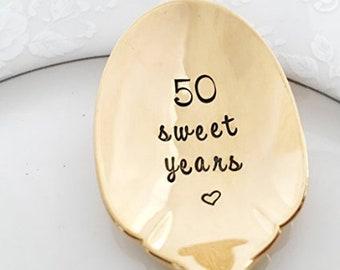 50 sweet years, gold sugar spoon vintage
