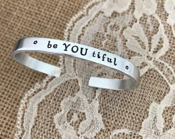 be YOU tiful, bracelet cuff hand stamped
