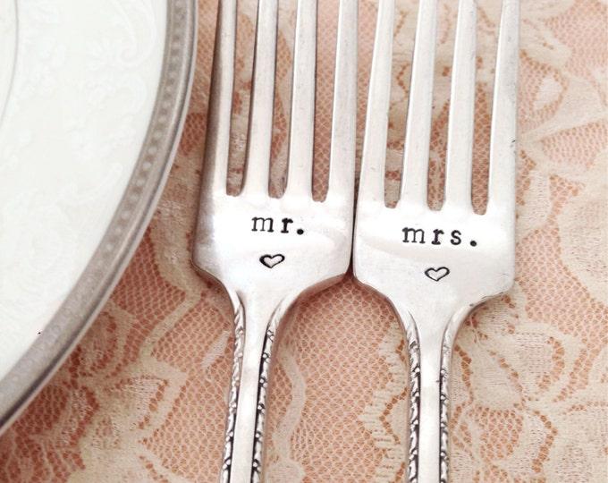 """Mr. & Mrs. vintage wedding forks Rogers """"bordeaux"""" hand stamped"""