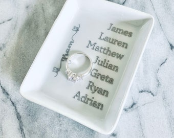 Mom Grandma Gift Personalized Ring Tray Dish Trinket Plate Engraved White Rectangle With Kid's Names