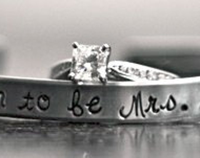 Soon to be Mrs. (any name here) bride, custom SKINNY hand stamped cuff bracelet