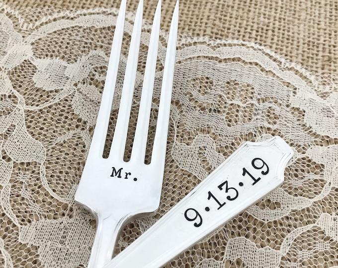 Custom wedding date forks, Mr & Mrs vintage forks. Legacy