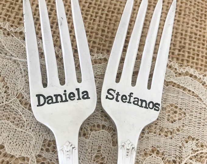 """Personalized forks with date. Vintage wedding forks """"reflection"""" hand stamped"""