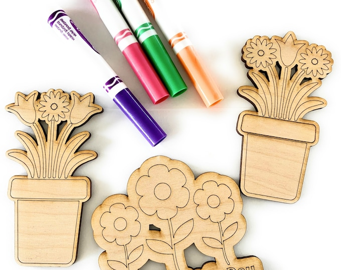 Coloring Kit Mothers Day Gift, Flowers Cut Out DIY Magnet Craft Idea