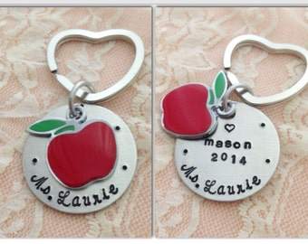 Personalized apple charm teacher gift hand stamped keychain
