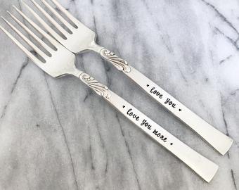 Love you. Love you more. Forks, vintage hand stamped forks, Wingsong