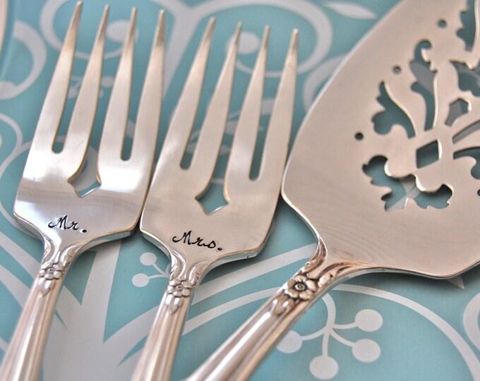 """Mr. & Mrs. dinner forks and cake server vintage wedding , """"Valley Rose"""" hand stamped"""