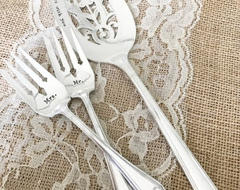 Hand stamped cake server and salad forks.  Mr and Mrs. Art Deco