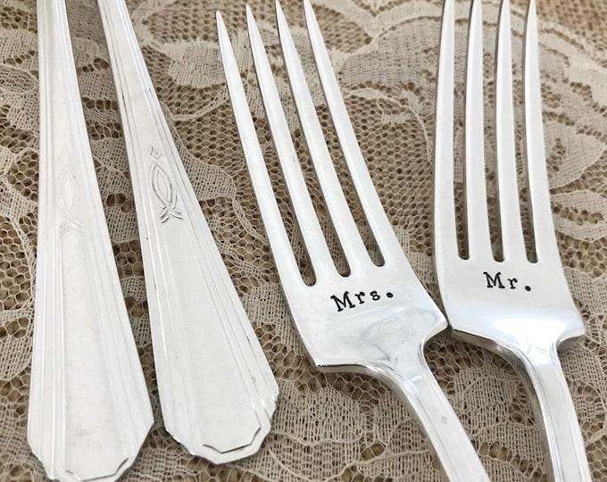 Mr & Mrs forks with date. Handstamped, Paris
