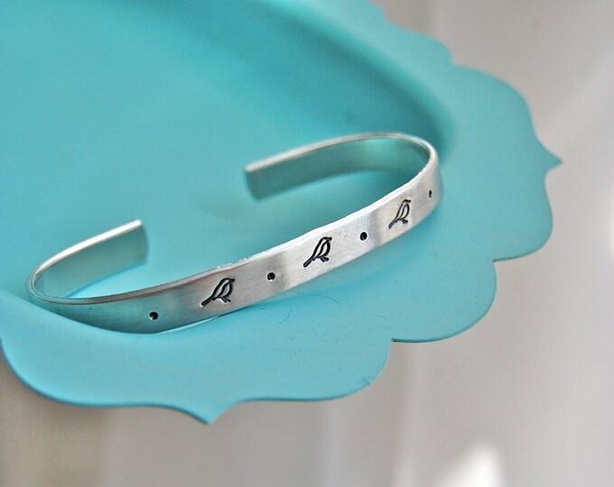 Three Little Birds, skinny bracelet cuff