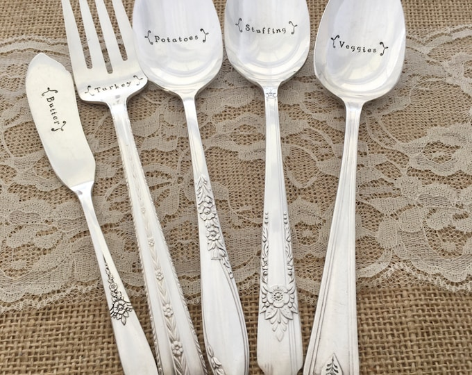 6 piece thanksgiving serving set. hand stamped serving set, vintage silverplate. Mixed florals