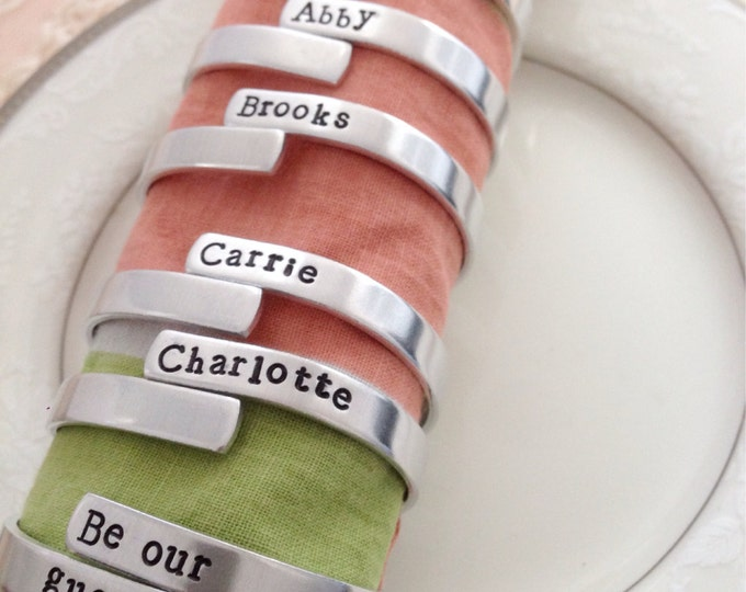 Set of 6 family napkin rings, personalized, fun party set