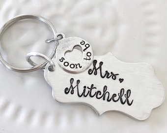 Soon to be Mrs... personalized engagement keychain, hand stamped scalloped plaque with removable charm