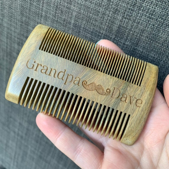 Personalized beard comb and beard oil gift set for dad, men, husband,  grandpa mustache father's day gift
