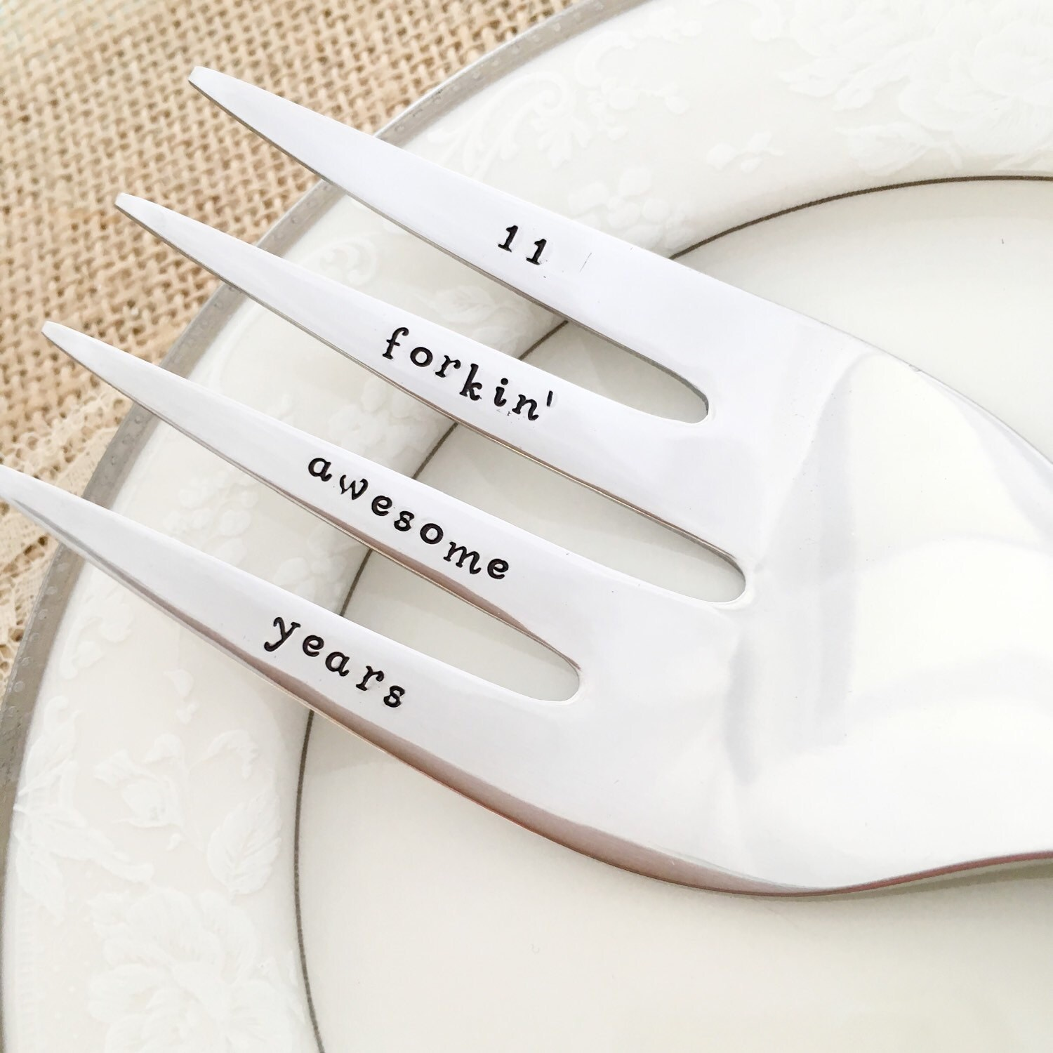 ... 11th anniversary gift 11 forkin awesome years traditional stainless steel serving fork gift hand stamped ...