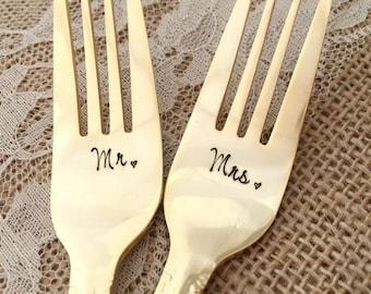 GOLD Mr. & Mrs. salad forks, wedding hand stamped steel