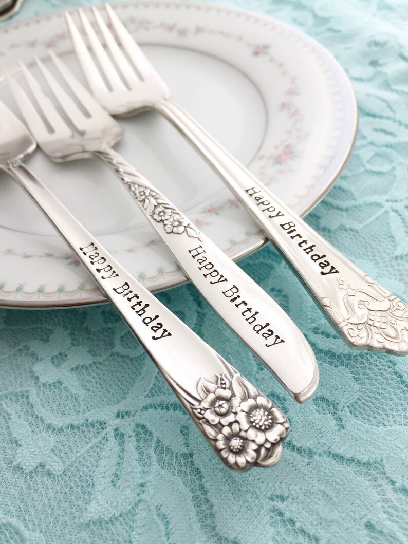 Pick your pattern style hand stamped sweet vintage keepsake tradition Happy Birthday fork..