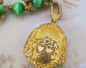 Antique Goldfilled Repousee Locket/ Diamond Etched /Green Tigers Eye Glass Beaded Bracelet