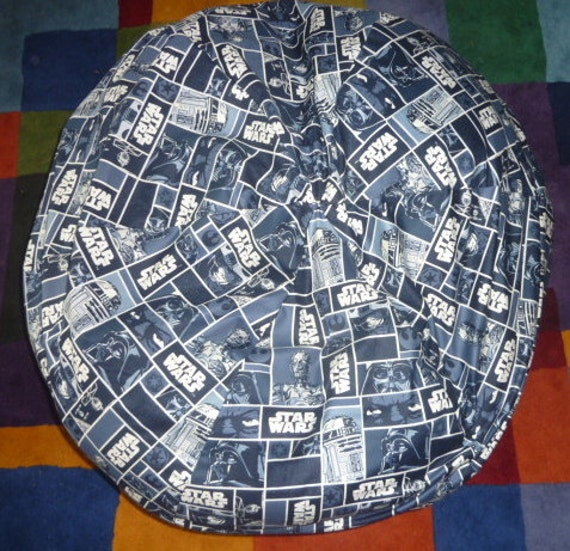 Star Wars Bean Bag Chair Cover Blue And White Darth Vader Etsy