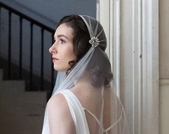 Ivory Wedding veil Juliet cap style, Art Deco Veil, Ivory cap veil, Bridal veil, 1930s veil, UK