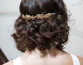 Gold Bride Headband - Gold Wedding Headpiece - Gold Bridal Tiara  - Gold crown Bridal Hair Accessory
