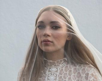 Juliet Cap headpiece and veil -  Chapel length veil -  Statement Bridal Headpiece with detachable  English net veil