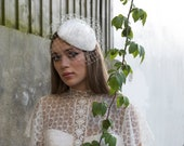 Winter Wedding Bridal Headpiece with birdcage veil - Ivory velvet cocktail hat with veil - Agnes Hart UK