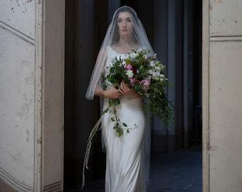 Ivory Juliet Cap Veil with Crystal Trim - Vintage Style Wedding Veil - Juliet Veil with Blusher - 1920s style veil - Art Deco veill
