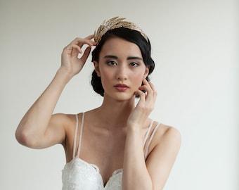 Modern tiara - gold bridal crown- contemporary bridal headpiece