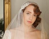 Juliet Cap Veil with  lace  - Kate Moss Wedding  veil - 1930s style veil - ivory chapel length veil - cathedral length veil