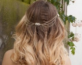 Gold Chain Headpiece - Bohemian Bridal Hair chain - Gold Tone Wedding hair Accessory - Draped Hair Chain  - Bridal headpiece