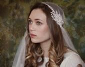 Beautiful Juliet Cap Wedding Veil, ivory veil chapel length, 1930s Wedding veil, Kate moss veil, UK