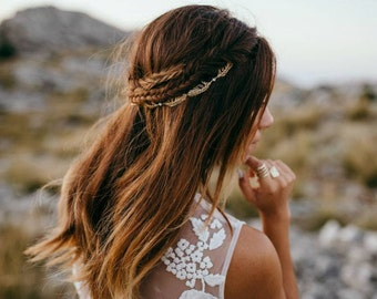 Gold Bridal headpiece - Wedding Hair Vine - Back of Head Hair Accessory  - bohemian headpiece - Boho Wedding Dress