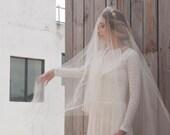 Ivory Drop Veil - Wedding Veil and Tiara - Chapel Length Bridal veil and Gold tone Headpiece - Off-white veil , Ivory veil , Champage veil