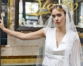 Stunning Juliet Cap Veil with Beaded lace and gold detailing ,Kate moss veil, cathedral length veil, chapel  veil,ivory veil, champagne veil