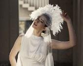 Statement Wedding Headpiece with ivory feathers - Vintage Showgirl Feather headdress - Carnival Wedding - Bohemian Bridal Headpiece