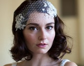 Wedding Head Piece with Lace and Crystal Rhinestones silk tulle and french net, white,ivory or champagne,Agnes hart