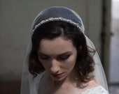 Juliet Cap wedding veil with Pearl trim. 1920s veil,  Vintage style Bridal Veil, Great Gatsby Veil, Agnes Hart Veil