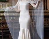 Ivory Wedding veil with lace - Mantilla Bridal Veil - Agnes Hart - UK